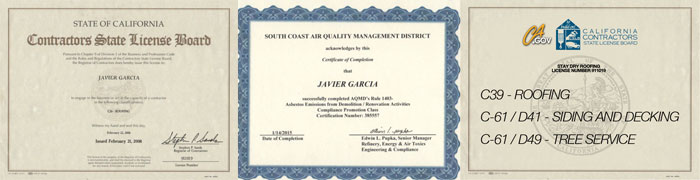Stay Dry Roofing Javier Garcia License 911019 C39